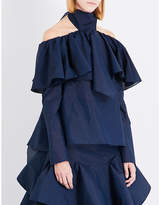 Rosie Assoulin Napkin ruffled cotton-blend top