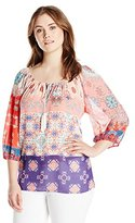 Single Dress Women's Plus Size 3/4 Sleeve Peasant Blouse