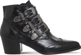 Office Jagger crocodile-embossed leather ankle boots