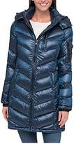 Andrew Marc Womens Packable Light Premium Down Hooded Long Jacket