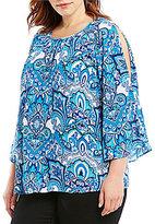 Allison Daley Plus Cold-Shoulder Paisley Tribe Print Blouse