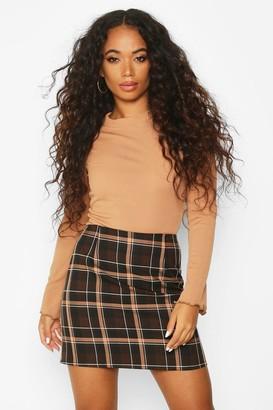 boohoo Petite Check A-Line Mini Skirt