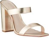 Schutz Maribel Square-Toe Metallic Leather Sandals