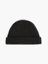 Marni Grey Ribbed Wool Beanie Hat