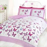 Art Flutter Butterfly Duvet Cover Set, Pink/White, Single