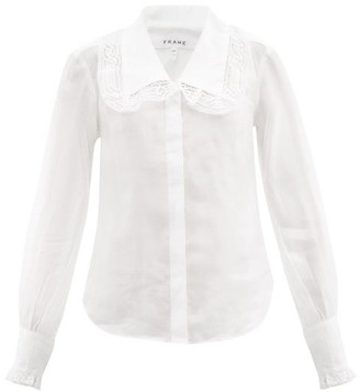Frame Lace-trimmed Collar Ramie Blouse - White