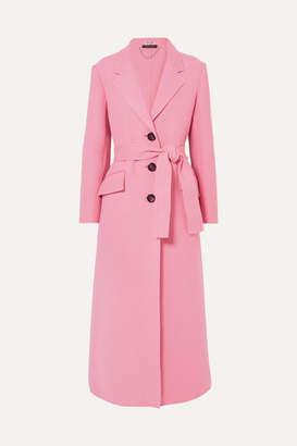 Miu Miu Belted Wool Coat - Pink