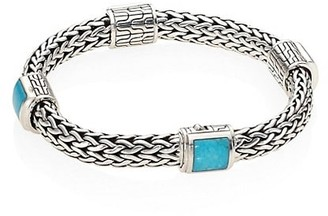 John Hardy Classic Chain Turquoise & Sterling Silver Four-Station Medium Bracelet