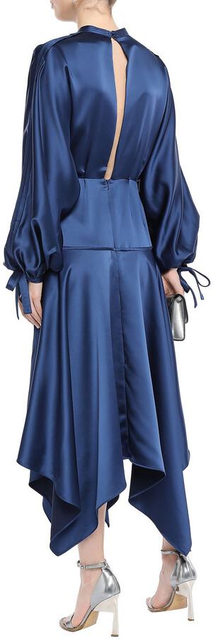 Thumbnail for your product : Self-Portrait Asymmetric Cutout Satin Peplum Midi Dress