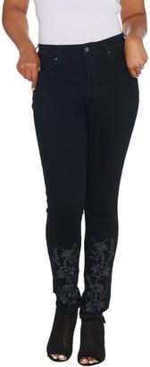 Martha Stewart Petite Embellished 5-Pocket Ankle Jeans