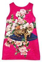Dolce & Gabbana Flower Cat Dress, Pink, Size 8-12