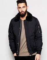 Schott Bomber Jacket With Faux Fur Collar - Black