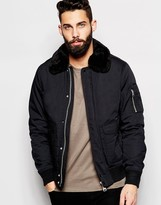 Schott Bomber Jacket with Faux Fur Collar