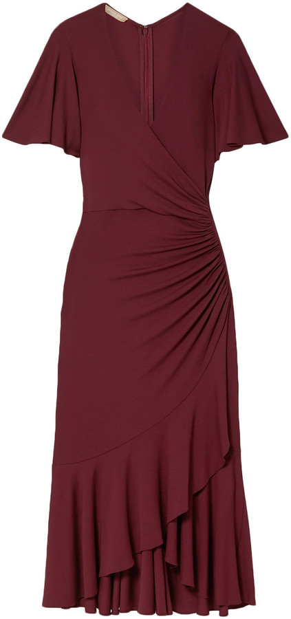 Michael Kors Collection Wrap-effect Ruched Stretch-jersey Midi Dress