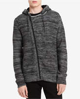 Calvin Klein Jeans Men's Asymmetrical Full-Zip Sweater with Fleece-Line Hood