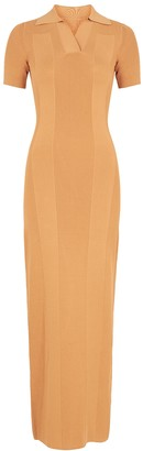 Jacquemus Le Robe Maille Polo sand stretch-knit maxi dress
