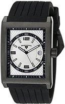 Swiss Legend Men's 40012-BB-02S Limousine Light Silver Textured Dial Black Silicone Watch