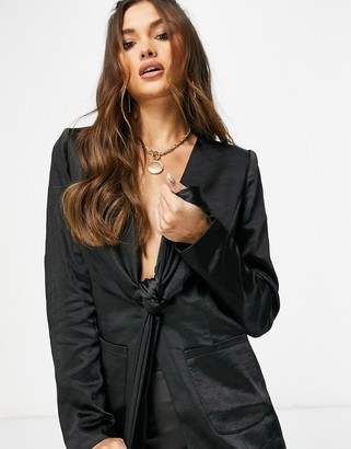 4th + Reckless satin tie front blazer co-ord in black