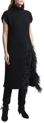 Valentino Fringed Wool-Cashmere Short-Sleeve Sweater