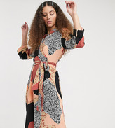 Thumbnail for your product : Monki Andie printed midi dress with tie belt in multi