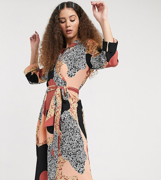 Monki Andie printed midi dress with tie belt in multi