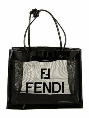 Fendi Patent Leather-Trimmed Logo Mesh Tote Black