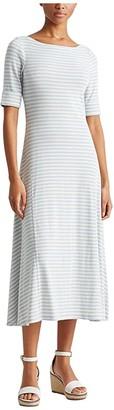 Lauren Ralph Lauren Striped Stretch Cotton Maxi Dress (Bright Fuchsia/Mas Cream) Women's Clothing