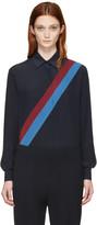 Stella McCartney Navy Silk Striped Shirt