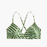 J.Crew French cross-back bikini top in palm leaf print