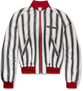 Haider Ackermann - Opium Distressed Striped Silk Bomber Jacket