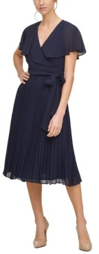Jessica Howard Flounce-Collar Pleated Midi Dress
