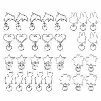 Generic njuyd Key Buckle 30Pcs Metal Heart Star Rabbit Cat Shape Keychain Swivel Lobster Clasp Metal Spring Snap Keychain Key Ring Jewelry Making