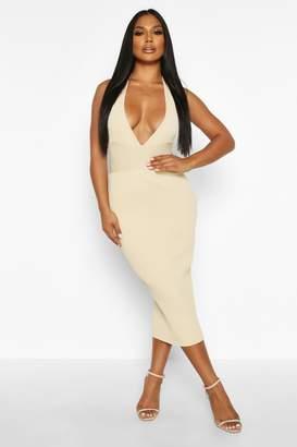 boohoo Premium Plunge Rib Knit Midaxi Dress