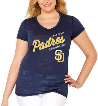 Unbranded Women's Soft As A Grape Navy San Diego Padres Plus Size Fastball V-Neck T-Shirt