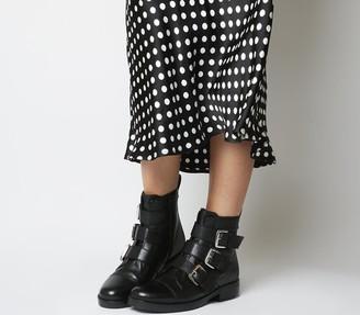 Office Anticipate Buckle Biker Boots Black Leather