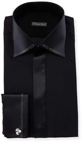 Stefano Ricci Crystal-Trim Silk French-Cuff Tuxedo Shirt