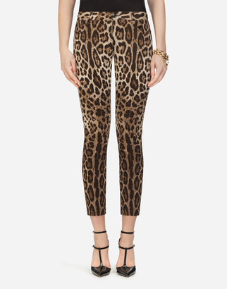 Dolce & Gabbana Five-Pocket Leopard-Print Pants