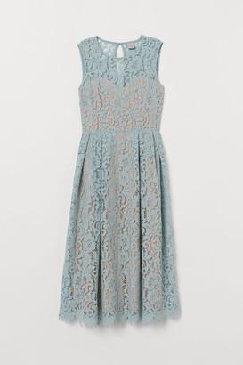 H&M Calf-length Lace Dress - Turquoise