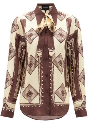 Marc Jacobs Runway - Pussy-bow Cubic-print Silk Blouse - Womens - Brown