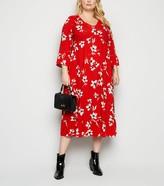 New Look Curves Floral Frill Smock Midi Dress