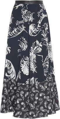 Loewe Leather-Trimmed Printed Jersey Midi Skirt