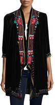 Johnny Was Ava Velvet Draped Cardigan
