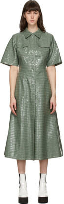 Stand Studio Green Faux-Leather Nahara Dress