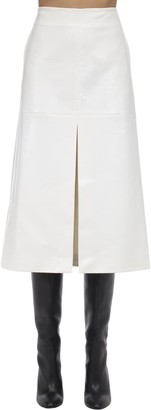 we11done Python Print Faux Leather Midi Skirt