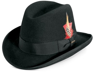 Stacy Adams Men's Wool Felt Homburg Hat With Feather