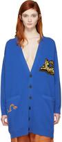 Loewe Blue Wool Jacquard Tiger Cardigan