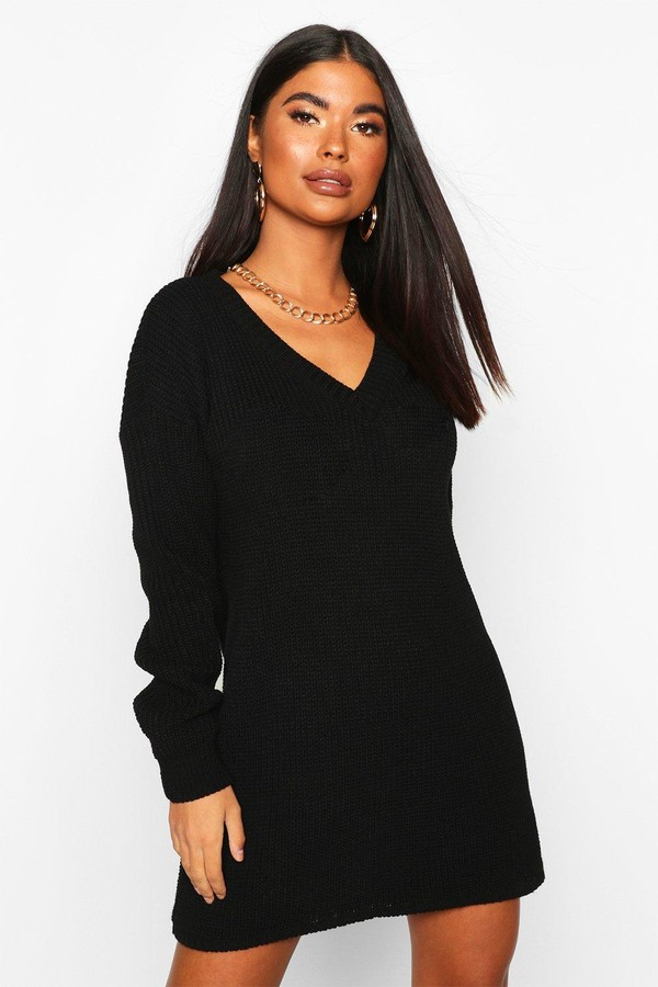 boohoo Petite Rib V-Neck Sweater Dress