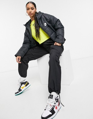 Nike padded jacket with back swoosh in black