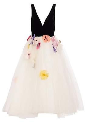 Monique Lhuillier Women's Velvet Bodice Appliqué Tulle Cocktail Dress
