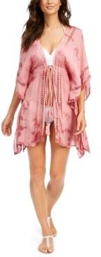 Raviya Crochet-Trim Tie-Front Kimono Swim Cover-Up Women's Swimsuit